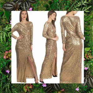 $899 NWT BADGLEY MISCHKA Gold Sequins Maxi Gown 6
